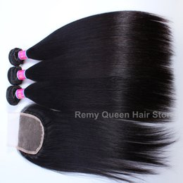 Hair Straightening Products Wholesale NZ - Free Shipping 3 Bundles With Closure Remy Queen Hair Products Indian Virgin Hair Extensions Human Hair Bundles With Closure Straight Weaves