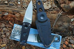 Cold Steel Edge Canada - COLD STEEL Secret Edge Fixed Blade Knife 8Cr13Mov 57HRC G10 Handle Tactical Camping Survival Neck Knife Hunting Pocket EDC Tools Collection