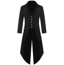 c682de85d7da7 Men s Coat Fashion Steampunk Vintage Tailcoat Jacket Gothic Victorian Frock  Coat Men s Batman Uniform Costume S to 4XL Size Plus