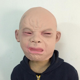 prank props crying baby full face mask cosplay costume party scary props high quality halloween props drop shipping