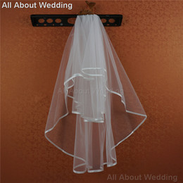 Hair Netting Wedding Canada - Soft Tulle Bridal Veil with Ribbon Edge Wedding Hair Accessory Bridal Cover Two Layer 2016 New Style Real Picture