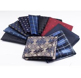 New 10 Colors Handkerchiefs Woven Plaid Paisly Striped Hanky Men's Business Casual Square Pockets Handkerchief Wedding Hankies on Sale