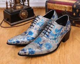 $enCountryForm.capitalKeyWord Canada - Shine Fashion Tide Mens High Quality Blue Flower Silver Male Shoes Lace-Up Oxfords Party Ball Dance Shoes Casual Genuine Leather Shoes