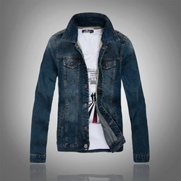 $enCountryForm.capitalKeyWord Canada - 2016 Fashion Men's Vintage Classic Washed Denim Jeans Jackets Stand Collar Large Size Blue Coat Mens Clothes Outwear US size 2XS XS S M L