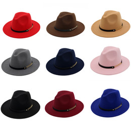 Army Hats For Women Canada - Autumn Winter Wool Felt Jazz Hats Caps for Women Trend British Style Ladies Fedora Hats with Belt Buckle Wide Brim Top Hats