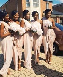 UniqUe orange color online shopping - Unique Design One Shoulder Bridesmaid Dress Pleats Chiffon Sheath Long Wedding Guest Dress Ribbon Cheap Bridesmaid Dress