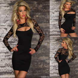long sleeve low cut dresses Canada - Plus Size S-XL Black Lace Patchwork Pencil Dress Long Sleeves Night Club Party Dress Sexy Low Cut Bandage Bodycon Dress