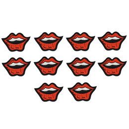 Lips Clothes Canada - 10PCS smile lips embroidery patches for clothing iron-on patch applique iron on fashion patch sewing accessories badge stickers on clothes