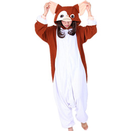 pijamas de onesie para adultos al por mayor-2018 New Kawaii Brown Gremlins Gizmo Traje de Cosplay Onesies Halloween Carnival Party Navidad Adulto mono Onesie Mono tops Pijama