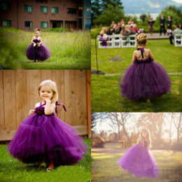 toddler birthday t shirts Canada - 2017 Lovely Baby Toddler Grape Tutu Ball Gowns Flower Girls Dresses For Wedding Party Birthday Tulle Halter Kids Pageant Gowns