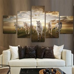 hd painting horse run Australia - Running Horse Animal Oil Painting 5 Pieces HD Print Painting on Canvas Modern Wall Art Pictures Home Living Room Decoration