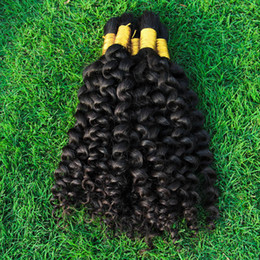 Discount mongolian curly braiding hair - Malaysian Kinky Curly Bulk Hair Weave 3 Bundles Full Tips Unprocessed Kinky Curl Human Hair Extensions In Bulk For Braid