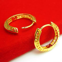 gold 999 ring Canada - Do not fade hypoallergenic gold earrings ear ear ring men and women imitation gold plated 24K ear clip earrings gift 999