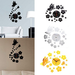 $enCountryForm.capitalKeyWord Canada - 3 Color Modern Quite Clock Mirror Wall Room Butterfly Decal Decor Vinyl Art Sticker DIY