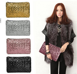 Silver Shimmer Clutch Bag Canada - 2016 sparkling clutch bags evening bag Fashion Dazzling Glitter Bling Sequins women Evening Party purse Bag Handbag for Women 29X19CM