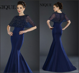 Barato Vestidos De Cetim-Royal Blue Mother of the Bride Dresses 2016 Janique com Beads Jacket Mermaid Satin Long Vestidos de noite formais Exquisite Mother Groom Gowns