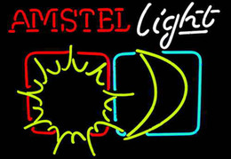 """Neon Sun Glasses NZ - Amstel Light Sun Moon Neon Sign Real Glass Tube Custom Handcrafted Beer Bar Store Pub Club Motel Advertising Display Neon Signs 24""""x20"""""""