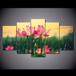 Canvas Prints Free Shipping NZ - 5 Pcs Set Framed Printed Pink Lotus Flowers At Sunset Painting Canvas Print room decor print poster picture canvas Free shipping NY-5730