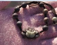 Asian Carved Beads Canada - Hand-carved - natural yunnan purple jade (rose blooming flowers) rosary beads, hand-knitted flat knot, charm beaded bracelet.