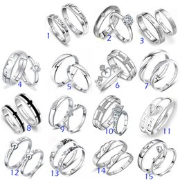 Unisex Engagement Rings Canada - 925 Sterling Silver Jewerly Rings DIAMOND ENGAGEMENT RING & WEDDING BAND Couple Ring SET Mix 15Style