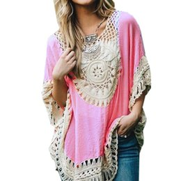Maillot De Crochet En Dentelle Femmes Pas Cher-Blousons Tassel d'été Femmes Blusas 2016 Hollow Out Knit Sexy Splice Loose Cape Lace Crochet Kimono Smock Top Cover Up Plus Size