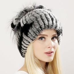 $enCountryForm.capitalKeyWord Canada - Winter women real rex rabbit fur hat with silver fox fur flower knitted beanies new sale high-end women fur cap