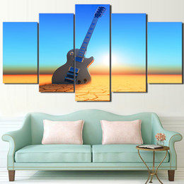 guitar art posters 2020 - 5 Pcs Set Framed Printed Sunset Beach Guitar Painting Poster Home Wall Decor Canvas Picture Art HD Print Painting Artwor