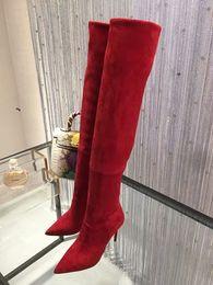 df8070e2eecae3 Overknee Red Bottom Spitzschuh Stretch Wildleder Over-the-Knee Stiefel High  Heels Sexy Luxus Designer Marke Stiletto Boot