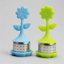 Aluminum flower online shopping - Flower Shape Silicone Tea Infuser Kitchen Accessory Originality Cartoon Stainless Steel Tea Strainer Heat Resistant Colourful st C R