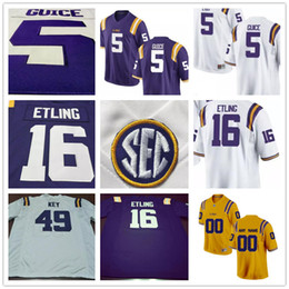 Barato Tigres Amarelos Roxos-LSU Tigers College Football # 5 Derrius Guice 49 Arden Key 16 Danny Etling 69 Turner Simmers Branco Roxo Amarelo Limited Stitched Mens Jersey