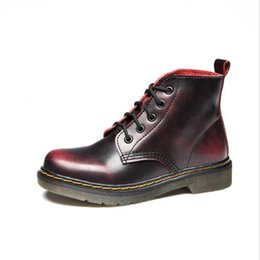 high tops for women UK - British style retro classic men women boots genuine leather Martin boots high-top lace up Motorcycle boot outdoor boots for couples