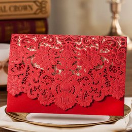 Embossed Flowers Invitation Canada - Classic Red Shiny Hollow Embossed Flowers Wedding Invitations Cards, By Wishmade, CW057