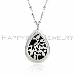 wholesale diffuser lockets Canada - Teardrop Tree of life Essential Oil Diffuser Perfume Locket Pendant Necklace Aromatherapy Stainless Steel with pads free shipping no chains