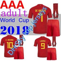 93733fcce Belgium 2018 World Cup Home Kits + Socks LUKAKU FELLAINI E.HAZARD KOMPANY  DE BRUYNE Soccer Jersey 18 19 Belgium football shirt