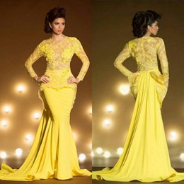 transparent sleeve prom dresses NZ - Bright Yellow Mermaid Long Sleeves Evening Dresses 2018 Lace Applique Sheer Jewel Neck Peplum Transparent Formal Prom Gowns