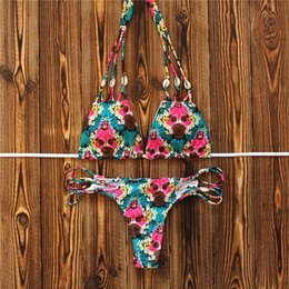Barato Swimwear Das Meninas Do Swimsuit Do Swimwear-2017 Top Sexy Handmade Weave Bikini Set Shell Printed Swimwear Feminino Praia Mulheres Halter Swimsuit Girl Bath Suit