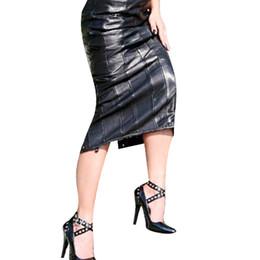 f17e36d2d6 Black Women Fashion Pencil Midi Skirt Hot Sale Sexy Faux Leather Skirts Back  Lace-Up Erotic Night Club Bandage Skirt W1126