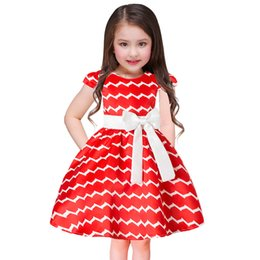 Barato Impressões Florais Ocidentais-Everweekend Kids Girls Printed Lace Flowers Bow Dress Holiday Party Princess Dress Wave Striped Western Fashion Dress
