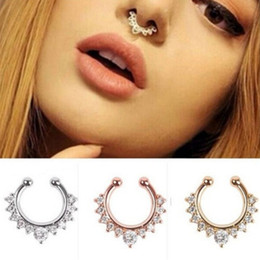 Wholesale-2016 Fancy Titanium Crystal Fake Nose Ring Septum Nose Hoop Ring Piercing Body Jewelry drop shipping on Sale