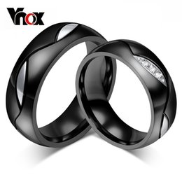 black stainless steel engagement rings NZ - Vnox Black Wedding Ring for Lover CZ Couple Ring 316l Stainless Steel Engagement Jewelry