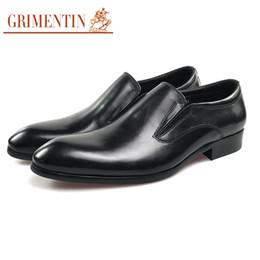 Genuine Leather Black Men Shoes NZ - GRIMENTIN Mens dress shoes Italian fashion designer men leather shoes genuine leather black slip-on formal business office male shoes WM2