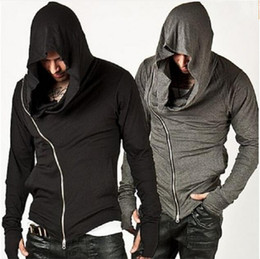 Barato Camisolas Elegantes Para Homens-Atacado-Novo Elegante Arm imbatível Warmer Diagonal ZIP-UP Mens Assassins Creed Hoodie Design de Moda para homens Sportswear camisola