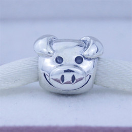 Authentic Flowers Australia - Fits for Pandora Charms Bracelet Playful Pig beads Authentic 925 Sterling Silver Bead fit for women new fashion Jewelry charms 1pc lot