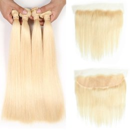 Wholesale Brazilian Virgin Hair Silk Straight Bundles with Closure Blond Hair Bundles with Frontal Ear to Ear Lace Frontal Brazilian Virgin Hair