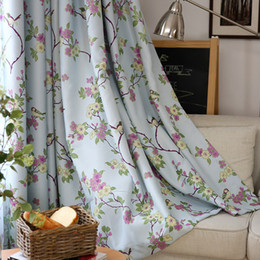 Birds U0026 Floral Ready Made Custom Curtains For Living Room Bedroom Blackout  Curtain Shade Blinds Window Treatments Beige U0026 Blue Affordable Floral  Curtains ... Part 74