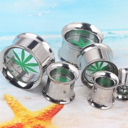resin blocks wholesale NZ - 2pcs Hip Hop Fashion Punk Explosion Leaves Ear Expansion Cylinder Block Acrylic Ear Plugs Tunnels Body Piercing Jewelry 6-16MM