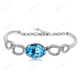 Mosaic Jewelry Set Canada - Brand Cason Ellegant Women Jewelry Oval mosaic Blue Crystal Charm Bracelet Platium Plated Blue colour Drop Shipping BRJ-0005