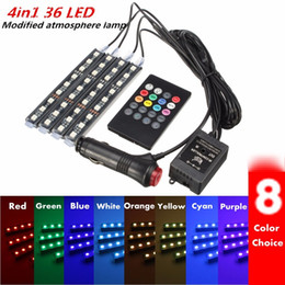 China RGB 36 LED Car Charge 12V 10W Glow Interior Decorative 4in1 Atmosphere Blue Inside Foot Light Lamp Remote Music Control supplier cars 4in1 suppliers