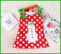 Habille Les Enfants Blancs Verts Pas Cher-Usine à prix réduits vestimentaires enfants blanc dot green bow Sweet Baby Girls Dress Kids Christmas Cute Snowman Bowknot Party Dress 2 ~ 7Y
