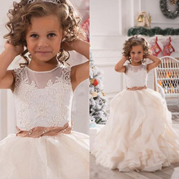 Chicas Colmenas Formales Baratos-2016 Girl Pageant Dresses Lovely Una Línea Sheer Jewel Neck Lace Appliques Top con Pearl Ruffles Falda Flower Girl Wedding Party Formal Wear